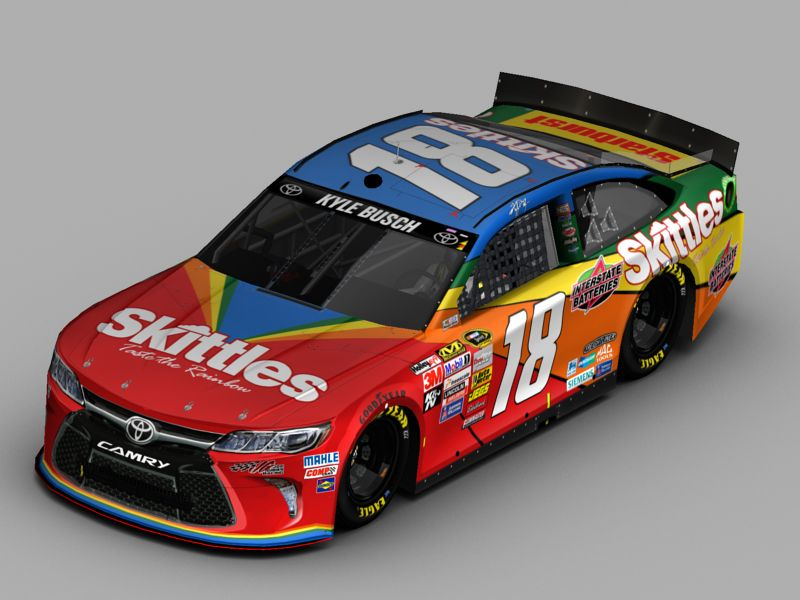 Rusty Wallace Race Cars >> Kyle Busch Skittles fictional 2015 Camry for NR2003 | Digital Race Car Designs | Pinterest ...