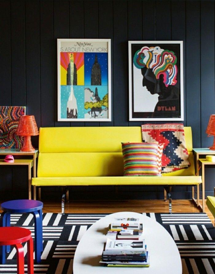 Farbgestaltung Wohnzimmer Fluoreszierende Farbe