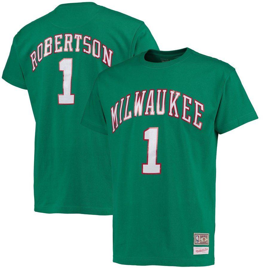 official photos 71e56 fb85a Men's Milwaukee Bucks Oscar Robertson Mitchell & Ness Kelly ...