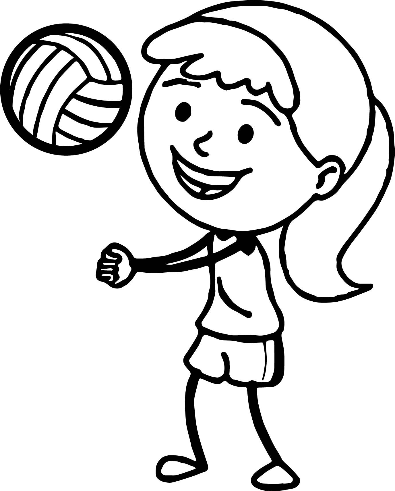 Nice Girl Playing Volleyball Bump Pass Coloring Page Coloring Pages Coloring For Kids Coloring Pages For Boys