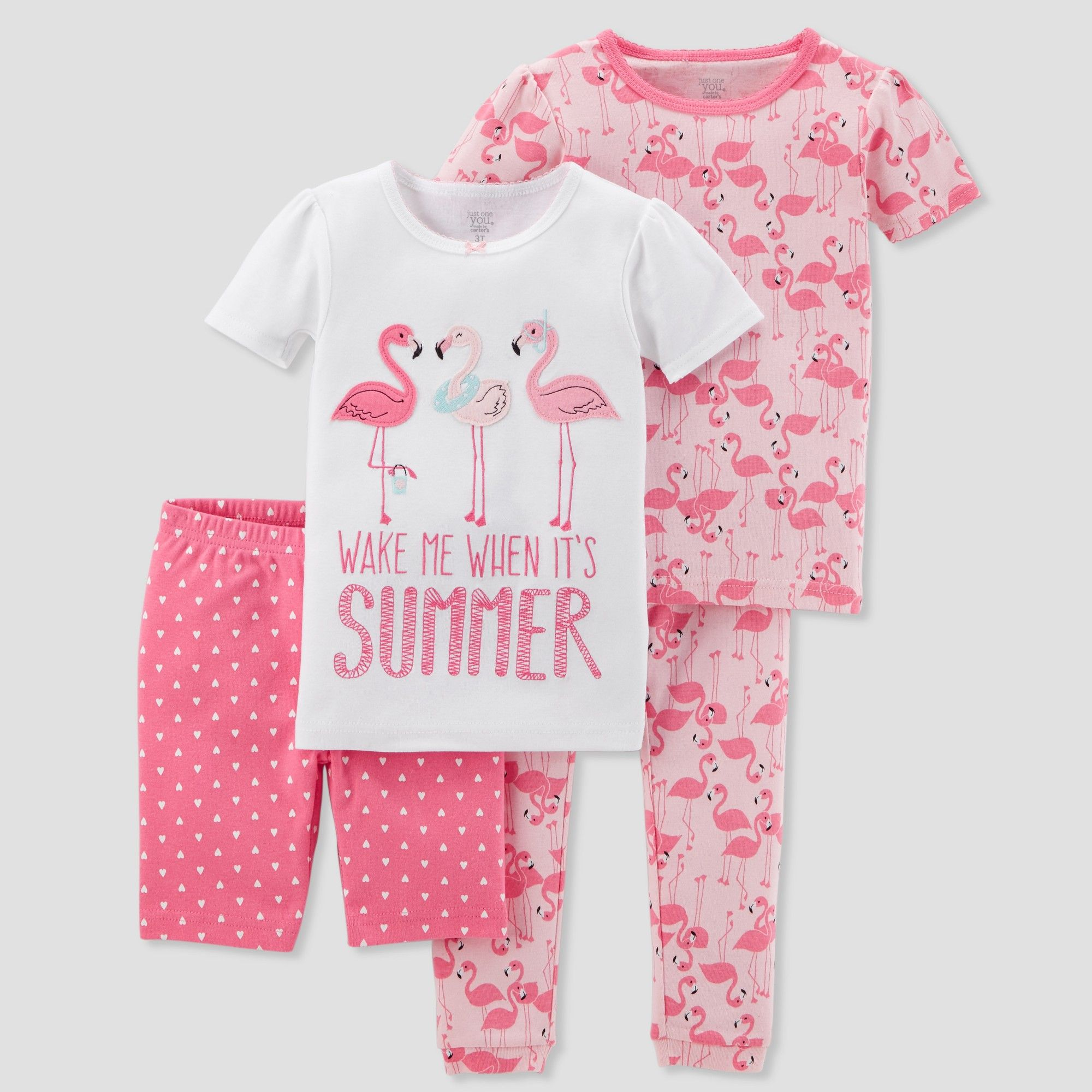 720f17e9fc Baby Girls  4pc Summer Flamingo Pajama Set - Just One You made by carter s  Pink 18M