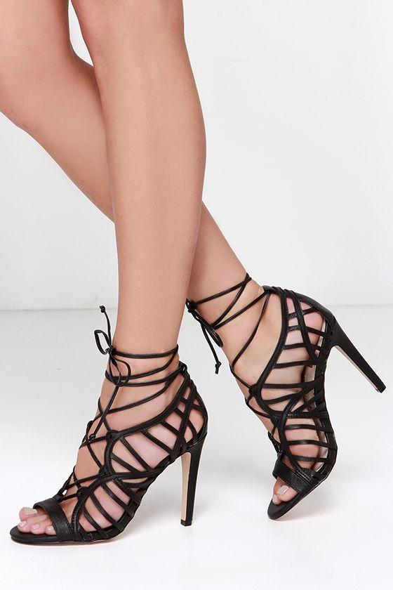 Dolce Vita Tessah Black Leather Lace-Up Heels at Lulus.com!