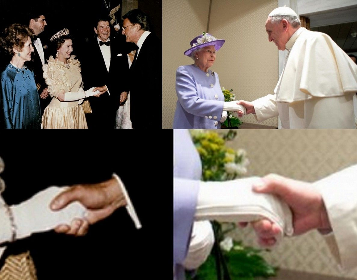 Strette di mano massoniche: Billy Graham |-------------> Billy Graham e Francesco stringono la mano alla regina Elisabetta II ...