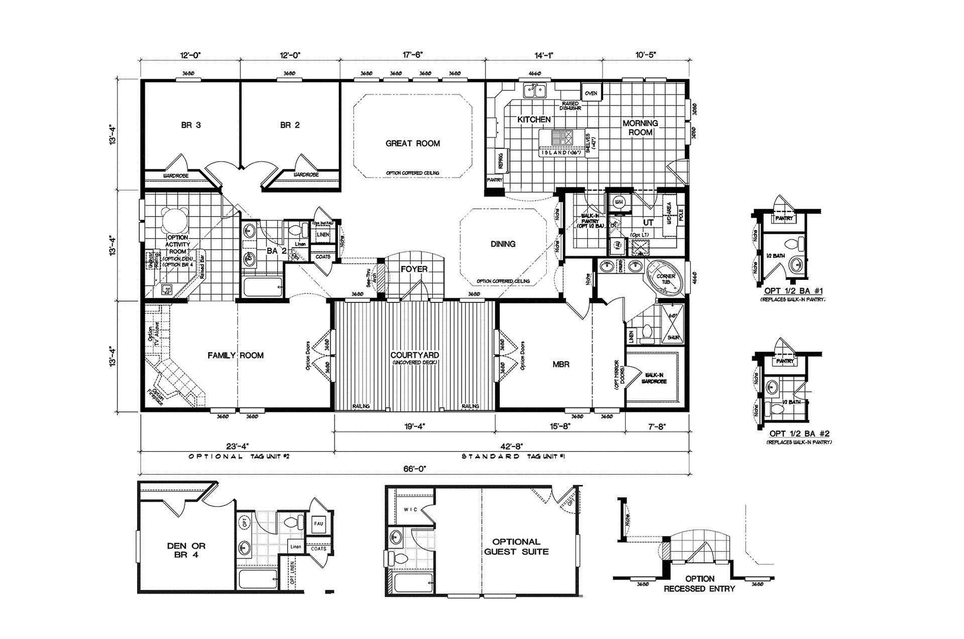 quadruple wide mobile home floor plans Google Search