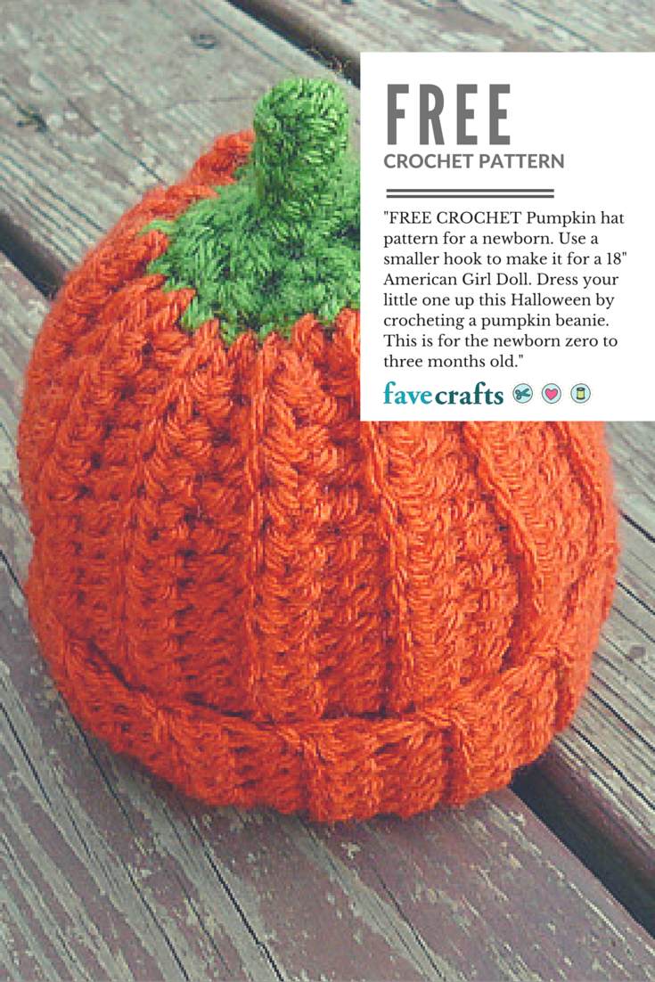 FREE CROCHET Pumpkin hat pattern for a newborn Use a smaller hook to make  it for a 18