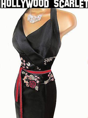 65ed6db3361 Exquisite Karen MillenBlack Oriental halterneck design wiggle dress uk 12