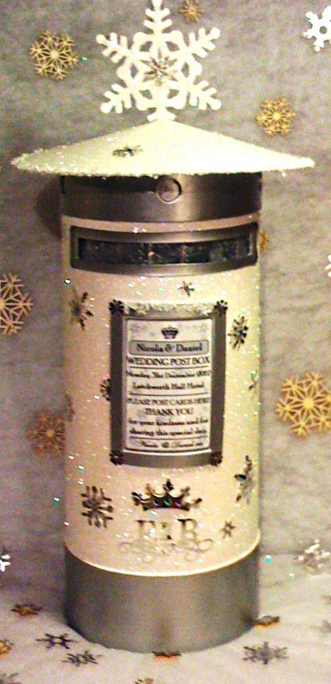 Winter Christmas Glitter Wedding Post Box Pillar Box With 3d