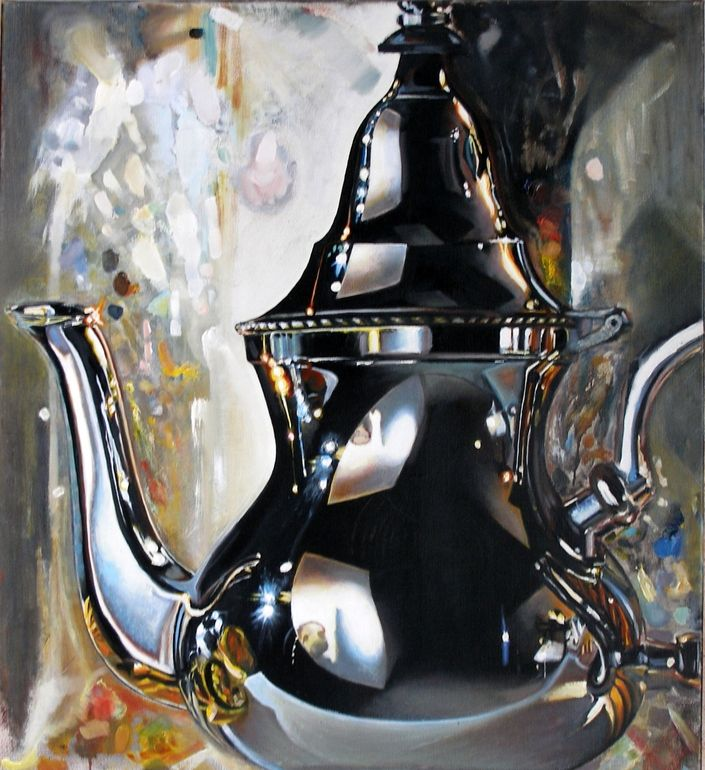 """Saatchi Online Artist: Leo Wijnhoven; Oil, Painting """"8 o'clock news"""""""