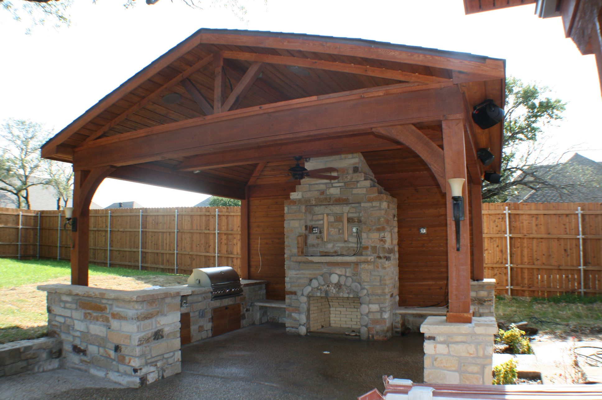 Outdoor Kitchen Roof Outdoor Kitchen Structures Decks Archadeck Of Fort Worth Tx