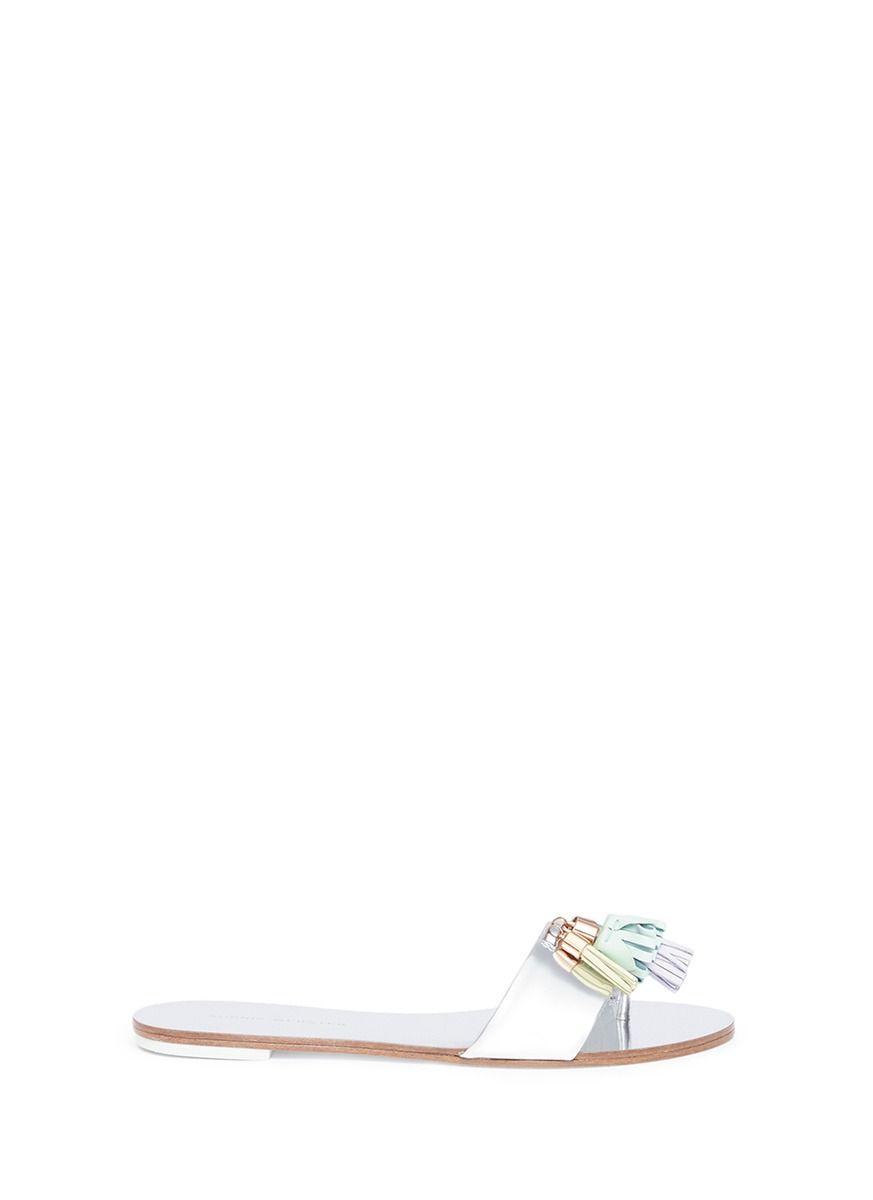 e16fa80a5ea433 Jada  Tassel Mirror Leather Slide Sandals