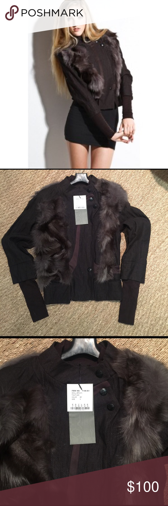 Kaylee Tankus woven jumper jacket brown fur Brand new with tags. kaylee tankus Jackets & Coats
