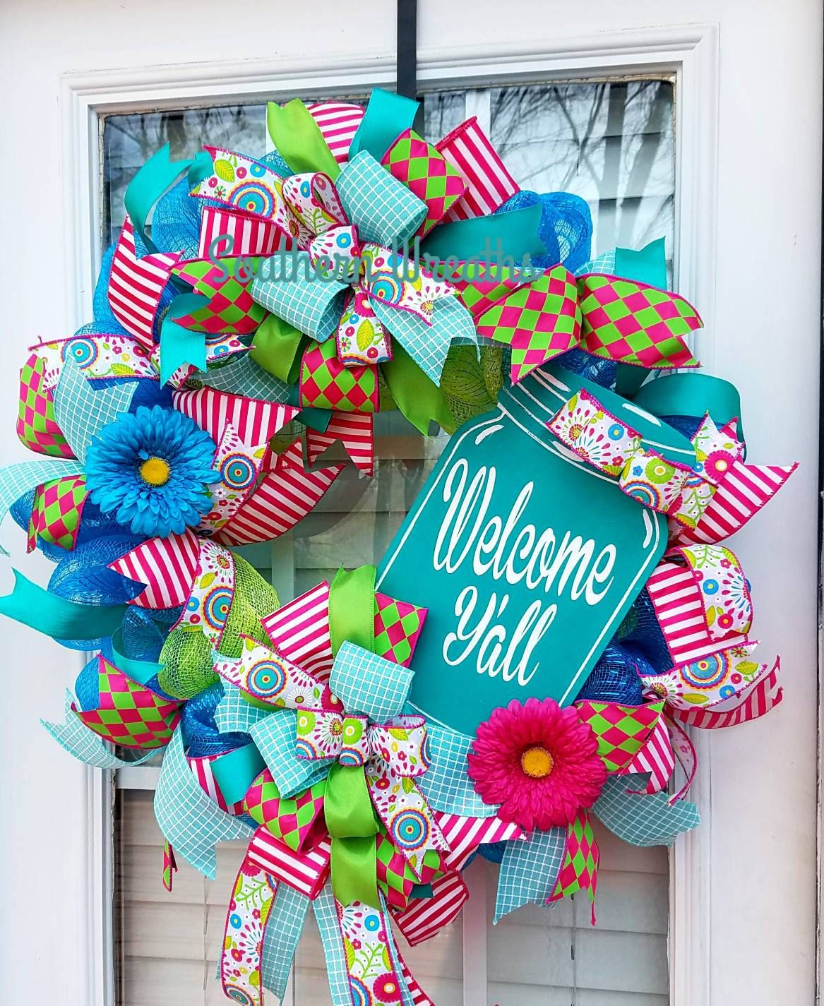 Welcome yall wreathmason jar wreath spring door wreath deco welcome yall wreathmason jar wreath spring door wreath deco mesh rubansaba
