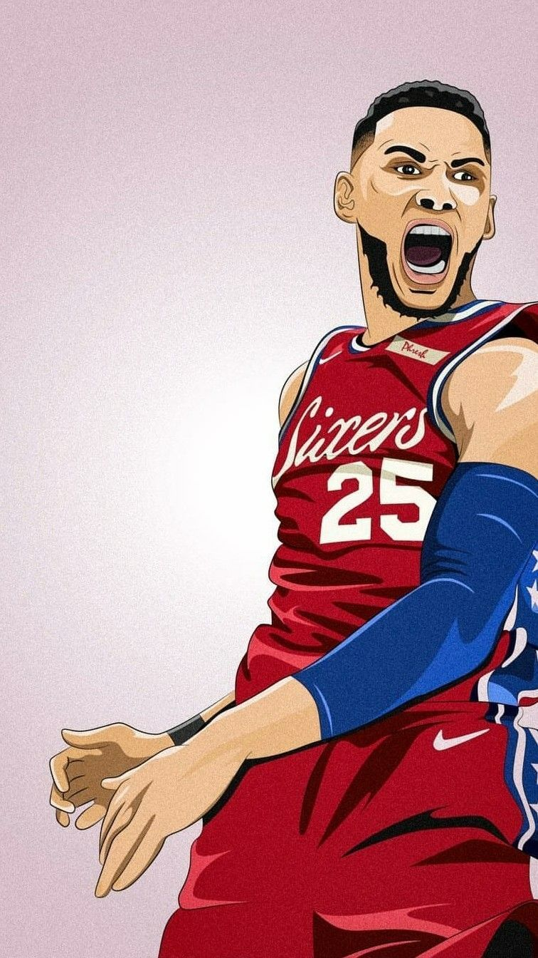 Cartoon Animated Basketball Wallpaper Http Wallpapersalbum Com Cartoon Animated Basketball Wallpaper Html In 2020 Ben Simmons Nba Background Nba Basketball Art