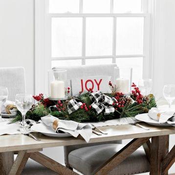 Buffalo Check Joy Centerpiece Christmas Decorations Centerpieces Lantern Centerpieces