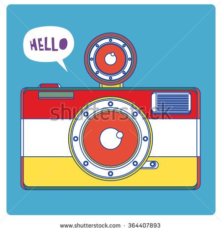 vintage vector illustration colorful camera for gift card - stock vector