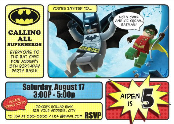 Batman Invitations Lego Batman And Robin Invitation