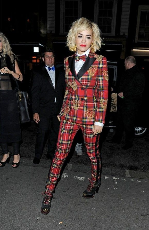 e7c6b7bcd43114 @roressclothes clothing ideas #women fashion Rita Ora Red Plaid Moschino  Pantsuit