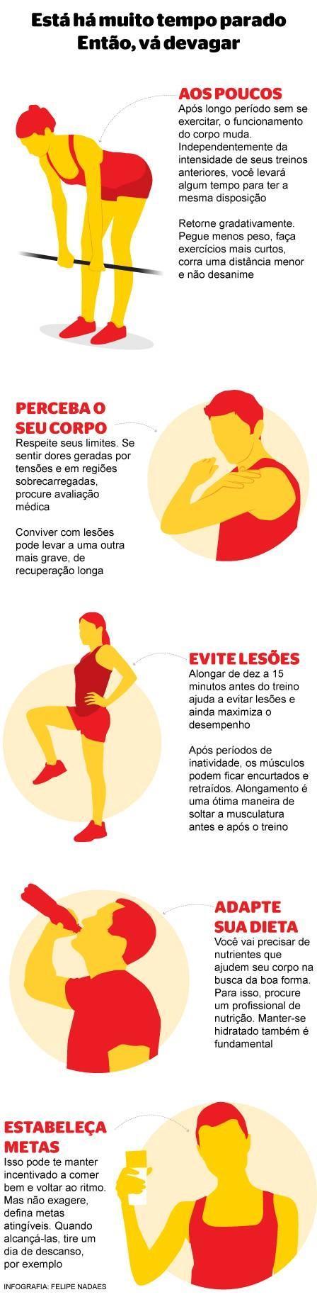 O retorno ou início de atividades físicas deve ser gradual, dizem especialistas