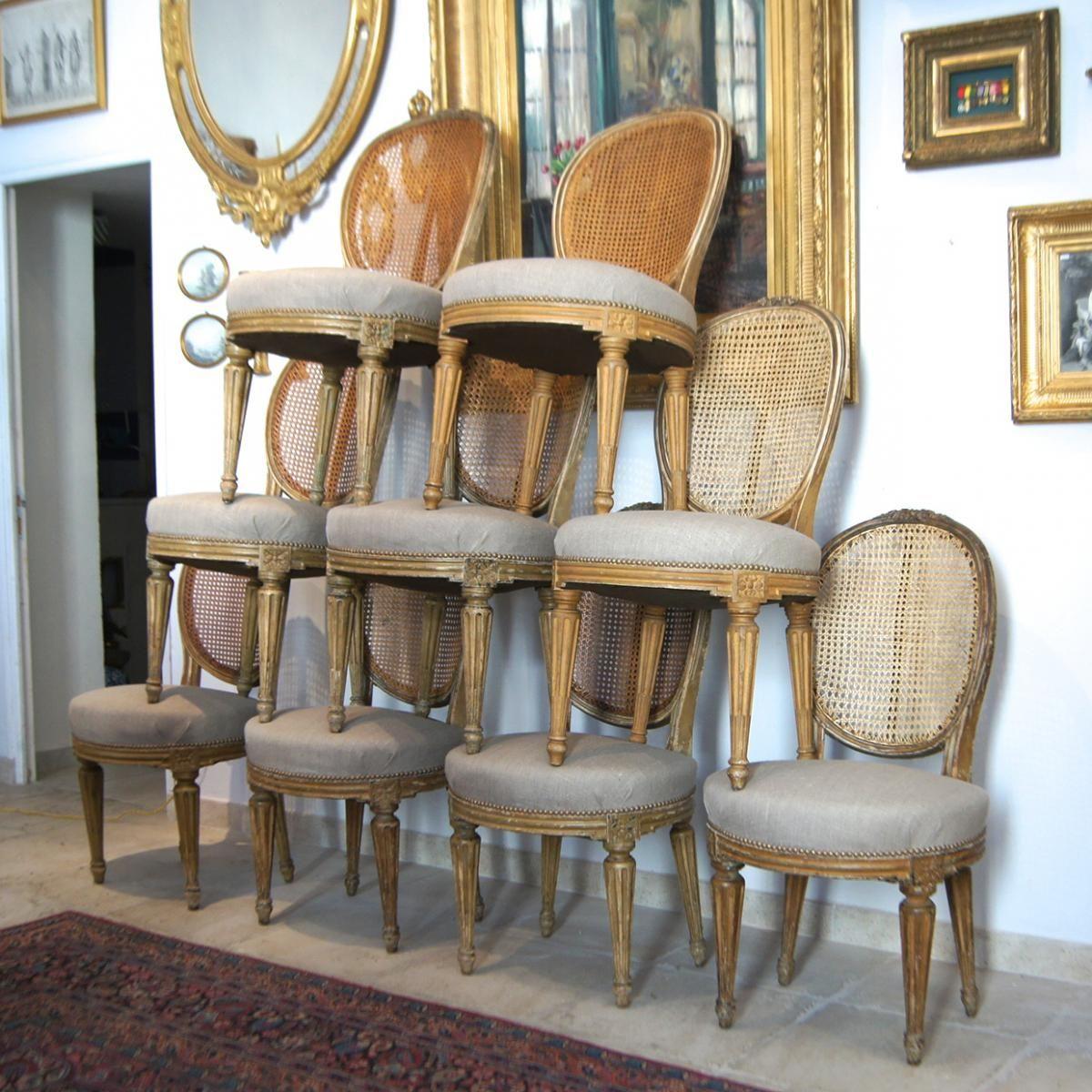 Serie De 9 Chaises Cannees Et Lin Style Louis Xvi Xixe
