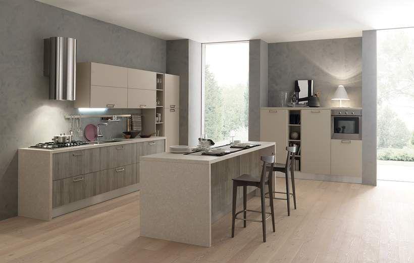 Cucine Moderne Febal.Contemporary Kitchen Wood Veneer Island Lacquered Sky