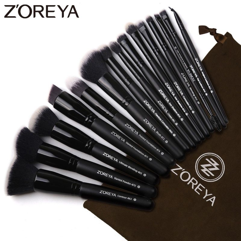 Zoreya Brand 15pcs Black Makeup Brushes Set Eye Shadow Powder Foundation Brush For Makeup Best Blending Concealer Cosmetic Tools