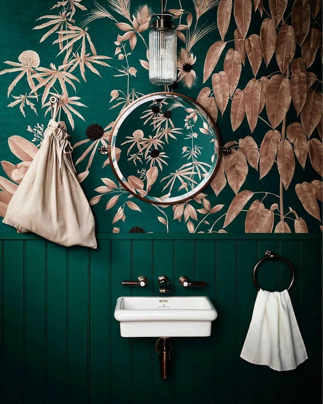 Forest Green Color Trends 2018 19 Green Color Trends Green Bathroom Blush Pink Wallpaper