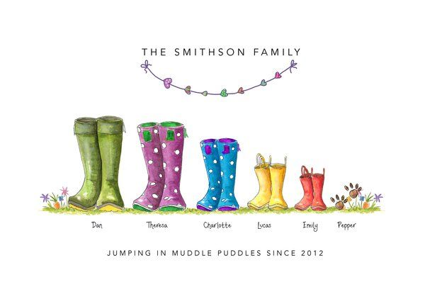 A The Original Welly Boot Family Print Family Print Family