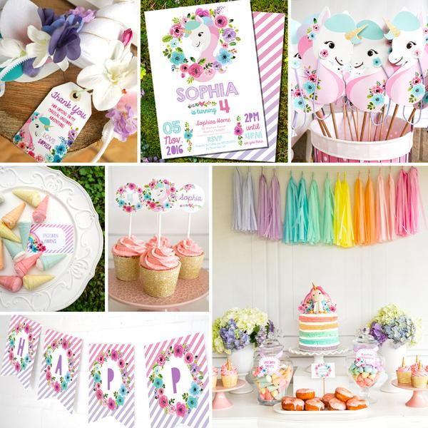 Unicorn Birthday Party Decorations Watercolor Floral Unicorn