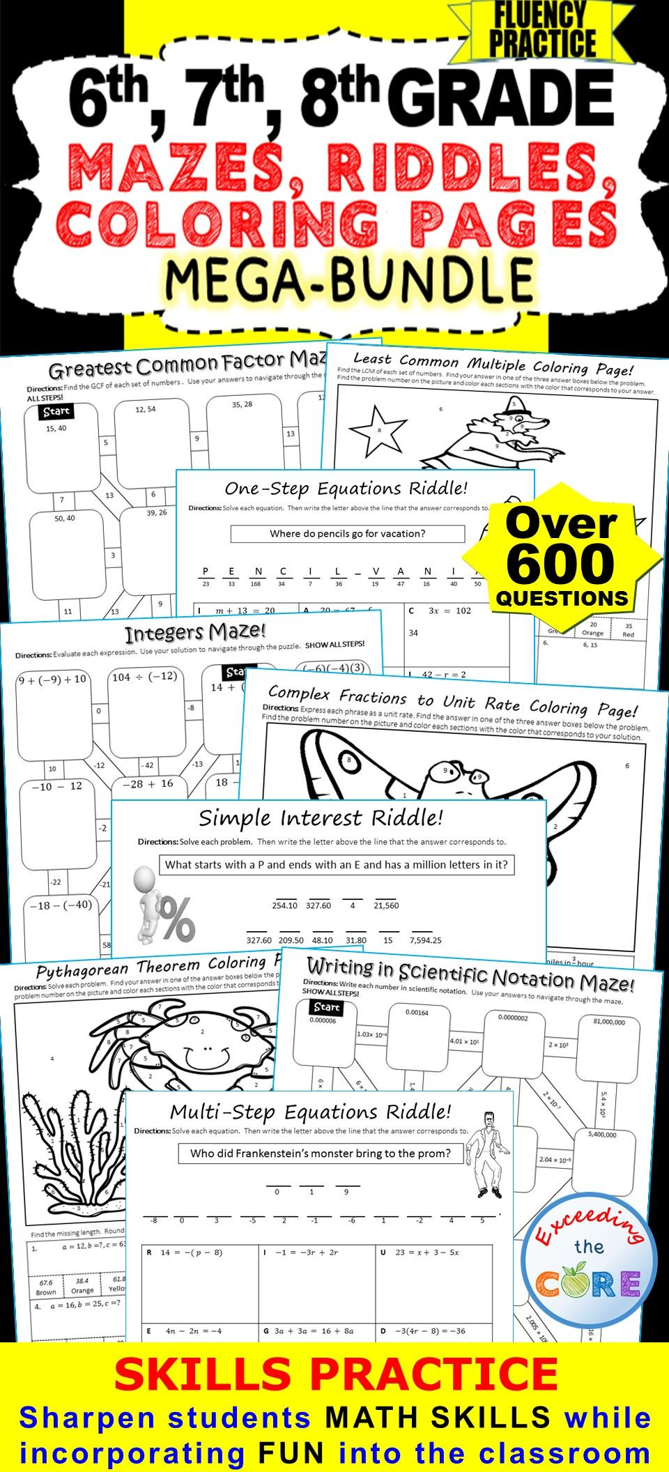 Fun coloring activities for middle school - This Middle School Math Bundle Includes Over 600 Problems Of Grade Grade Grade Mazes Riddles Coloring Activities All Of These Activities Allow