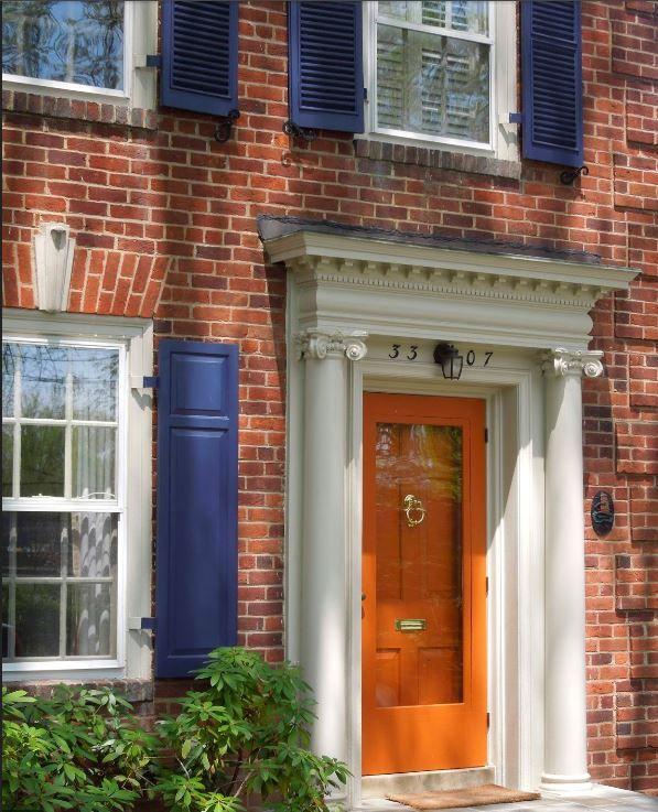 Orange Door Blue Shutter Color Combo Brick Exterior House