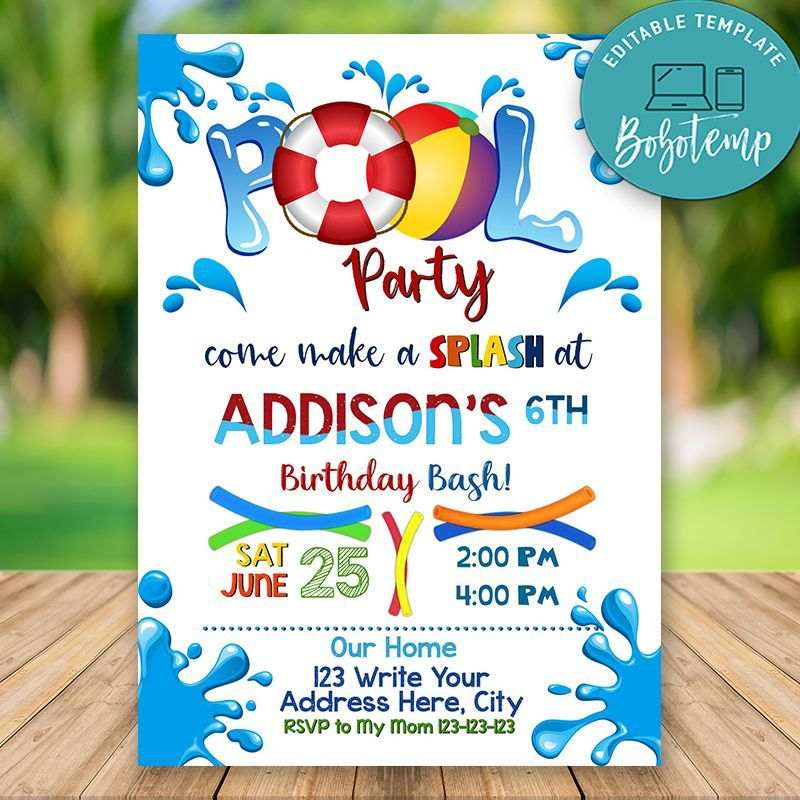 Editable Swimming Pool Party Invitations Instant Download Bobotemp Pool Party Birthday Invitations Pool Party Invitations Pool Birthday Party