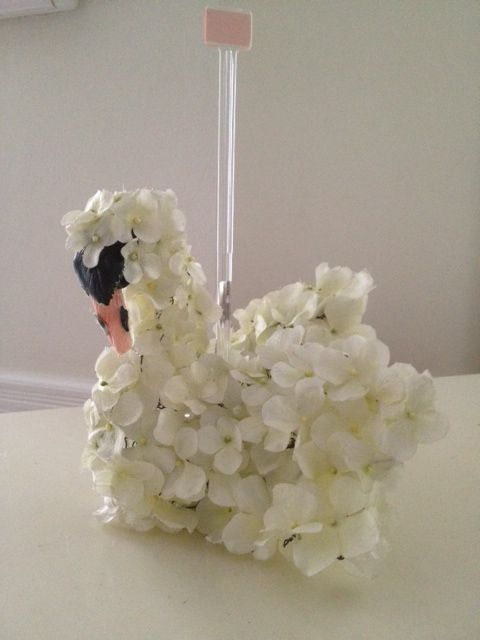 Wedding Floral Sculpture Swan Table Sign. Made to order for your wedding.  Call 631 427-0515 for price information