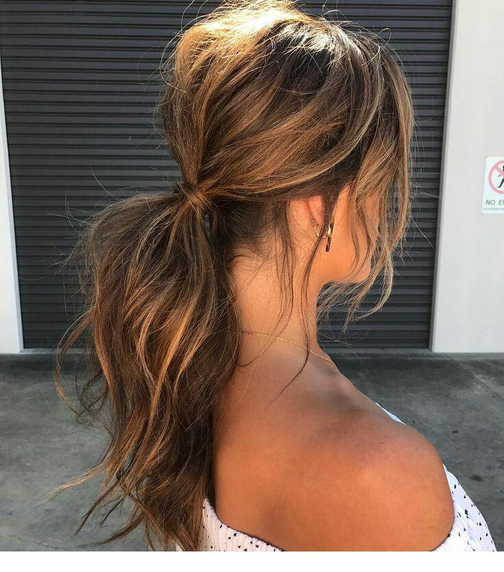 Sun Kissed Messy Hair Inspiring Ladies Medium Length Hair Styles Messy Ponytail Hairstyles Hairstyle