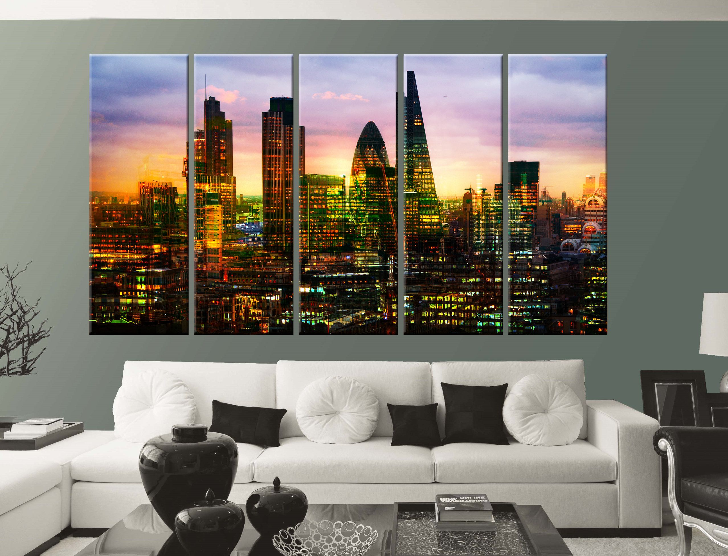 Multiple Exposure Image Of London City At Sunset With Etsy City Prints Canvas Wall Decor Cities Canvas