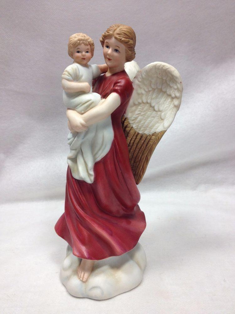 Vintage Porcelain Angel Holding Child Figurine Home Interior Homco