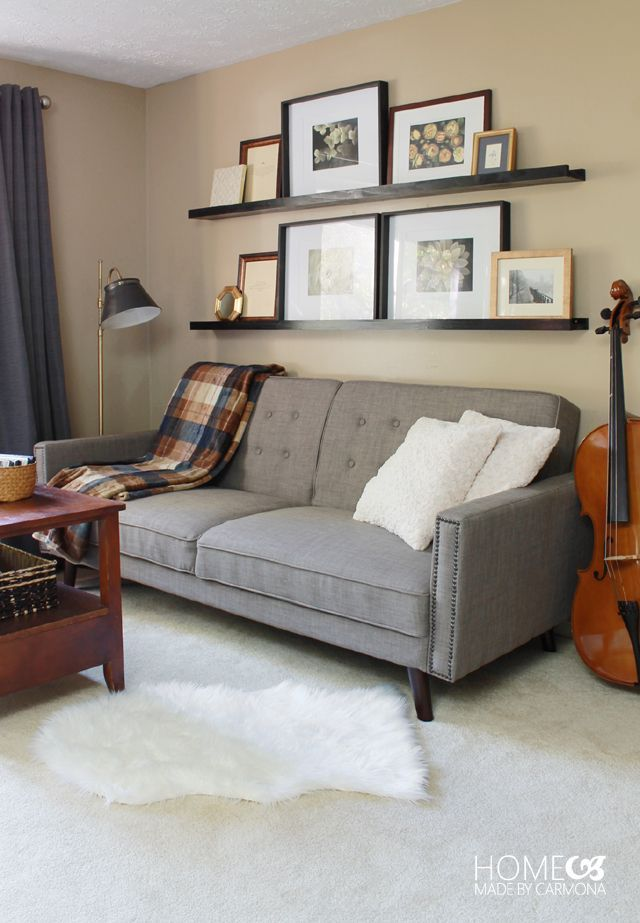 A Guest Ready Living Space | Futon living room, Living ...