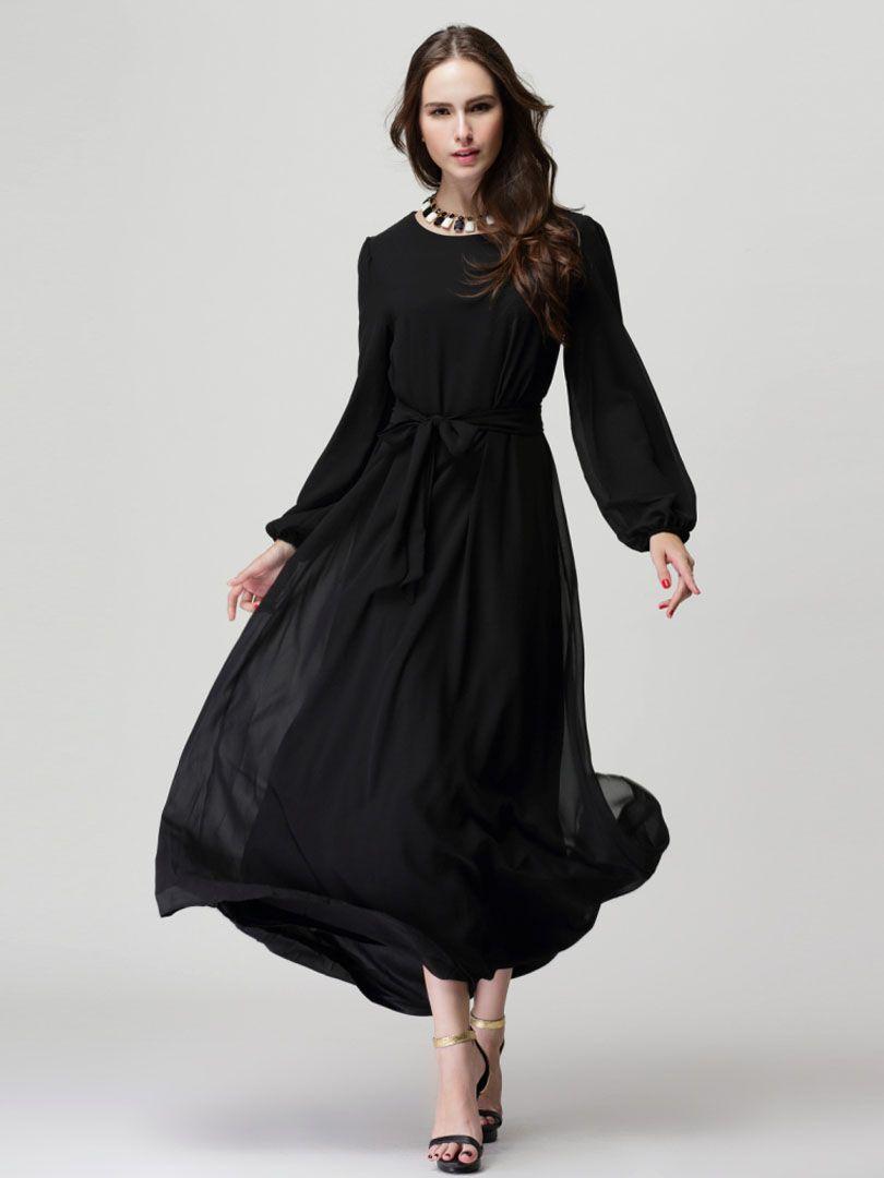Black long sleeve shift maxi dress with belt styles ladies