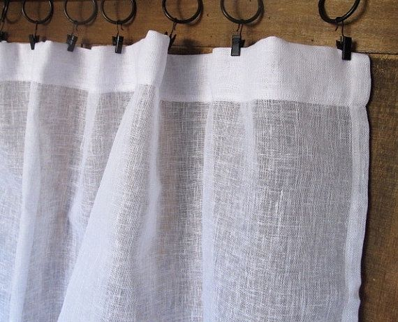 Sheer White Linen Panel French Linen Window Curtain Sheers