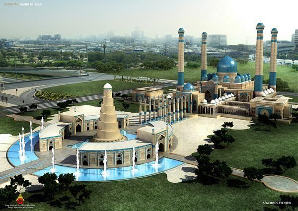 Grand Mosque In Dushanbe Tajikistan Tajikistan Places To Visit Beautiful Mosques