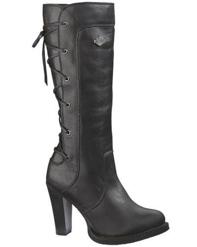 9afbf075766 Harley-Davidson Womens Calico Back-Lace High Cut Black Leather Riding Boots