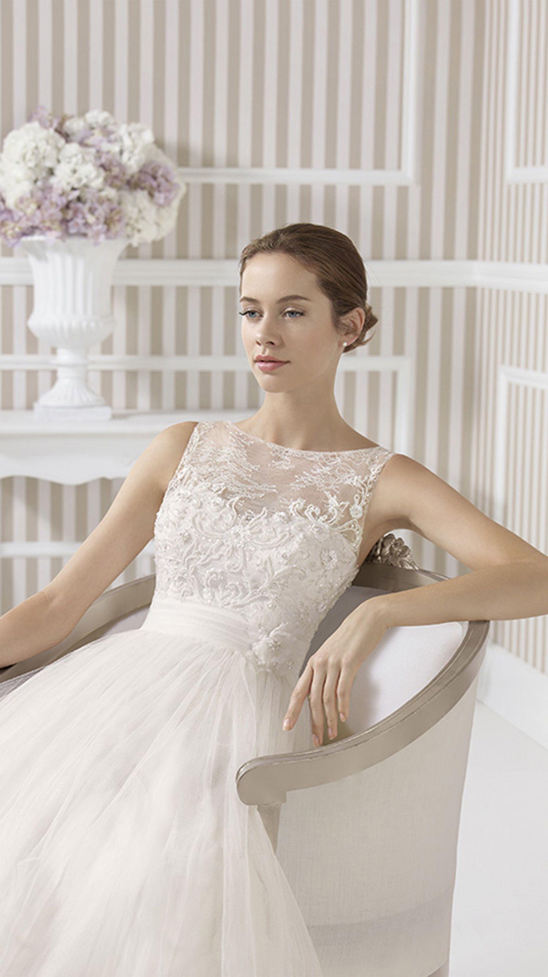 3b76ecb18208 $195.49-Beautiful A-Line Long Lace Sleeveless Satin&Tulle Wedding Dress  With Illusion Back.