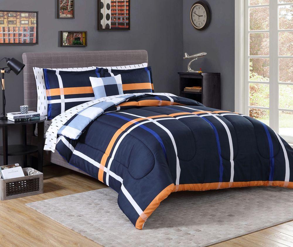 navy blue orange bedding zef jam. Black Bedroom Furniture Sets. Home Design Ideas