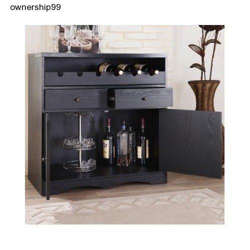 Black Home Bar Pub Furniture Dining Buffet Unit Wine Rack Liquor