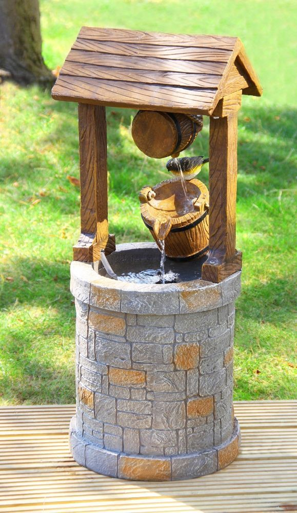 Solar Wishing Well Water Feature Fountain Garden Yard Outdoor Decoration  New #EcoSolaray