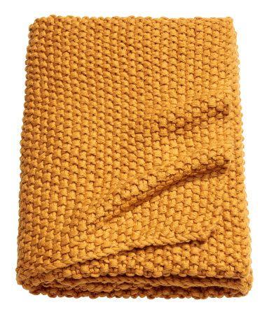 Moss Knit Throw Mustard Yellow Home H M Us Knitted Throws Mustard Bedding Mustard Throw Blanket