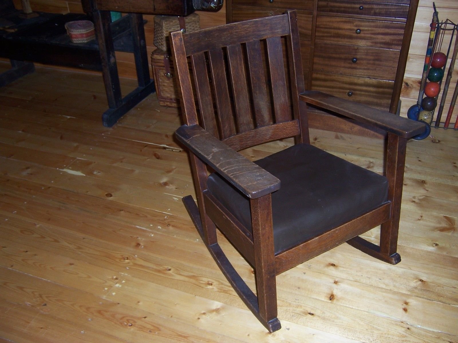 Antique Mission Oak Stickley Rocker Rocking Chair Original Finish   EBay