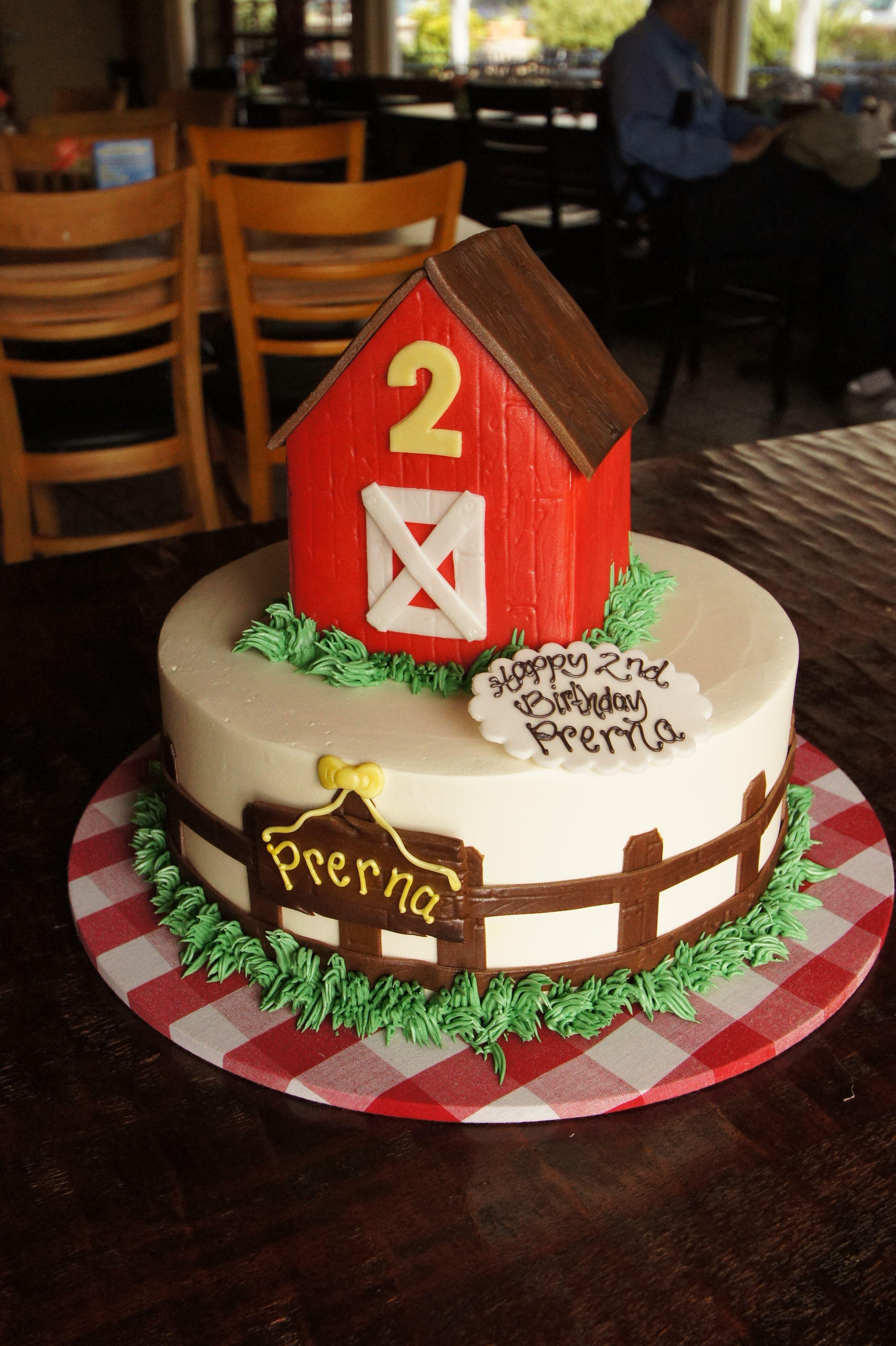Marvelous Tiered Red Barn Birthday Cake Barnyard Cake Barn Cake Farm Personalised Birthday Cards Veneteletsinfo