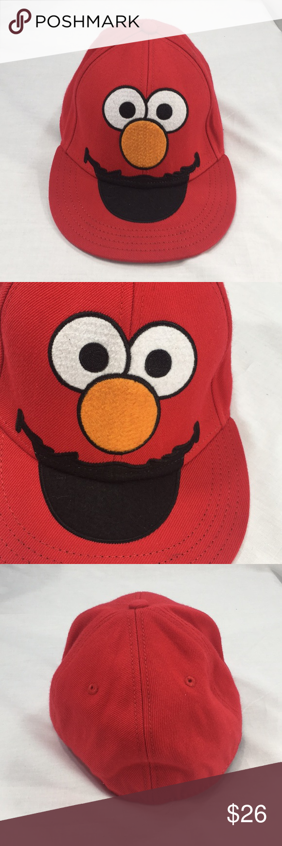 Sesame Street Elmo Red Fitted Hat Size 7 1 4 Fitted Hats Street Accessories Sesame Street