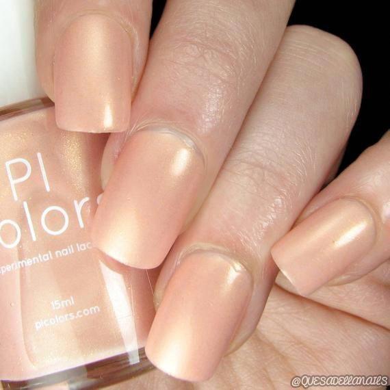 Peach Nail Polish with Gold Shimmer  PersiL.007 | Etsy