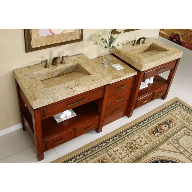 Bathroom, Efficient And Inexpensive Bathroom Vanities: Silkroad Exclusive  Kashmir Gold Granite Top Double Stone Sink Bathroom Vanity